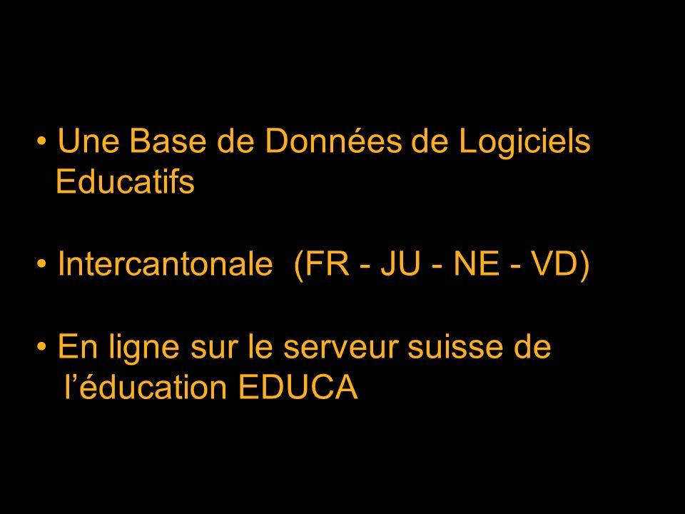 Une Base de Données de Logiciels Educatifs Intercantonale (FR - JU - NE - VD) En ligne sur le serveur suisse de léducation EDUCA