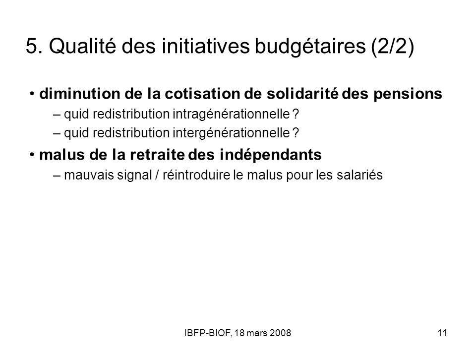 IBFP-BIOF, 18 mars 200811 5. Qualité des initiatives budgétaires (2/2) diminution de la cotisation de solidarité des pensions – quid redistribution in