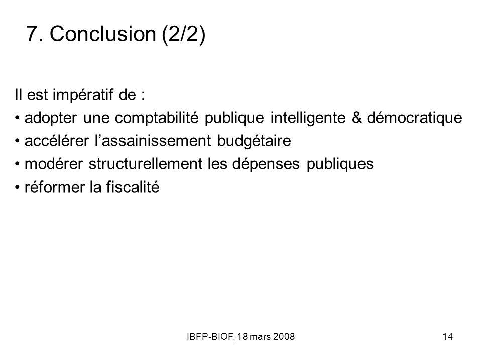 IBFP-BIOF, 18 mars 200814 7. Conclusion (2/2) Il est impératif de : adopter une comptabilité publique intelligente & démocratique accélérer lassainiss