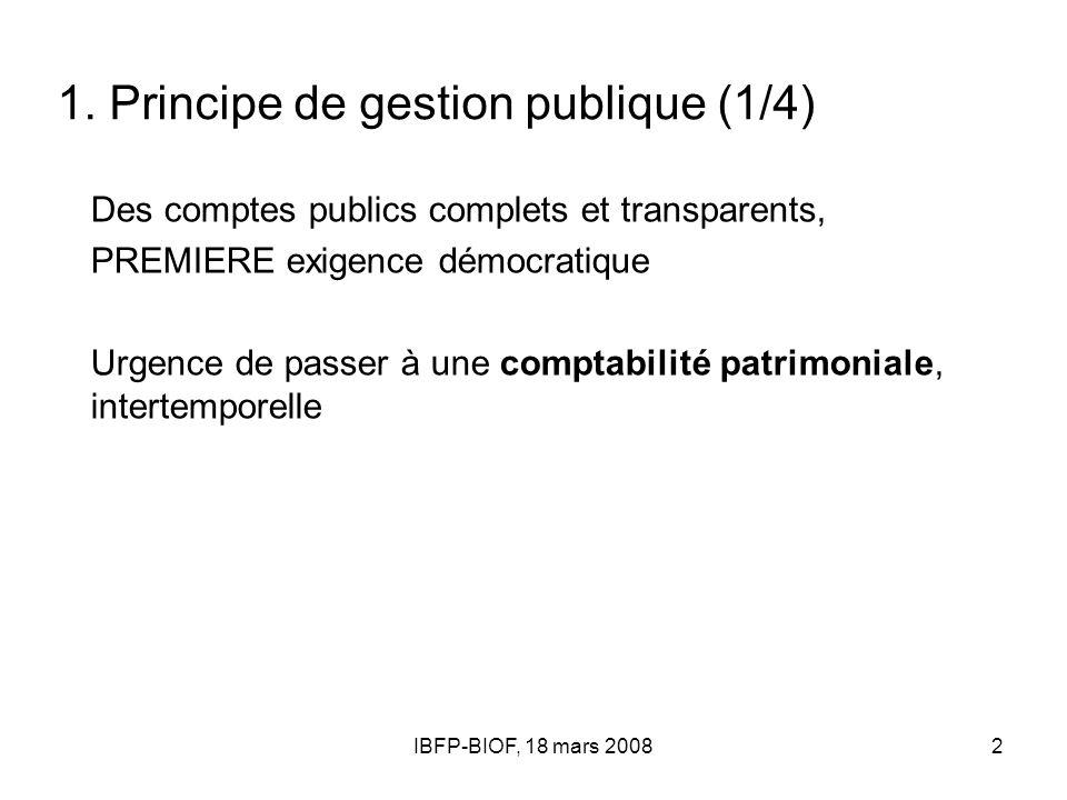 IBFP-BIOF, 18 mars 20082 1. Principe de gestion publique (1/4) Des comptes publics complets et transparents, PREMIERE exigence démocratique Urgence de