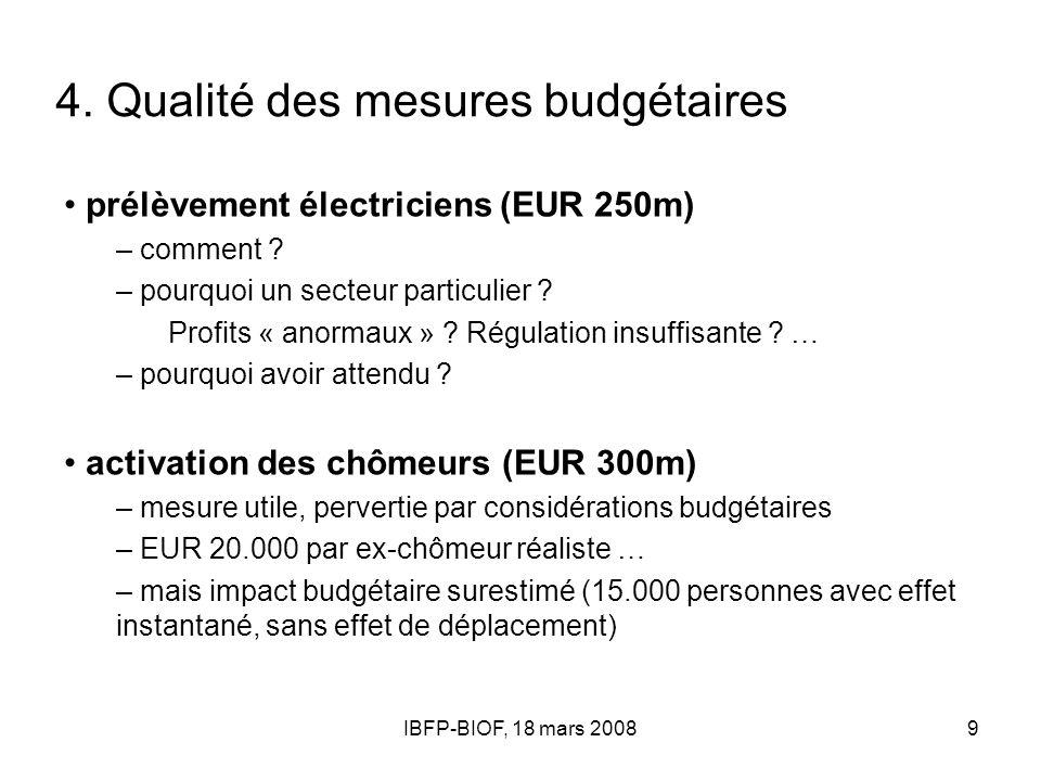 IBFP-BIOF, 18 mars 20089 4. Qualité des mesures budgétaires prélèvement électriciens (EUR 250m) – comment ? – pourquoi un secteur particulier ? Profit
