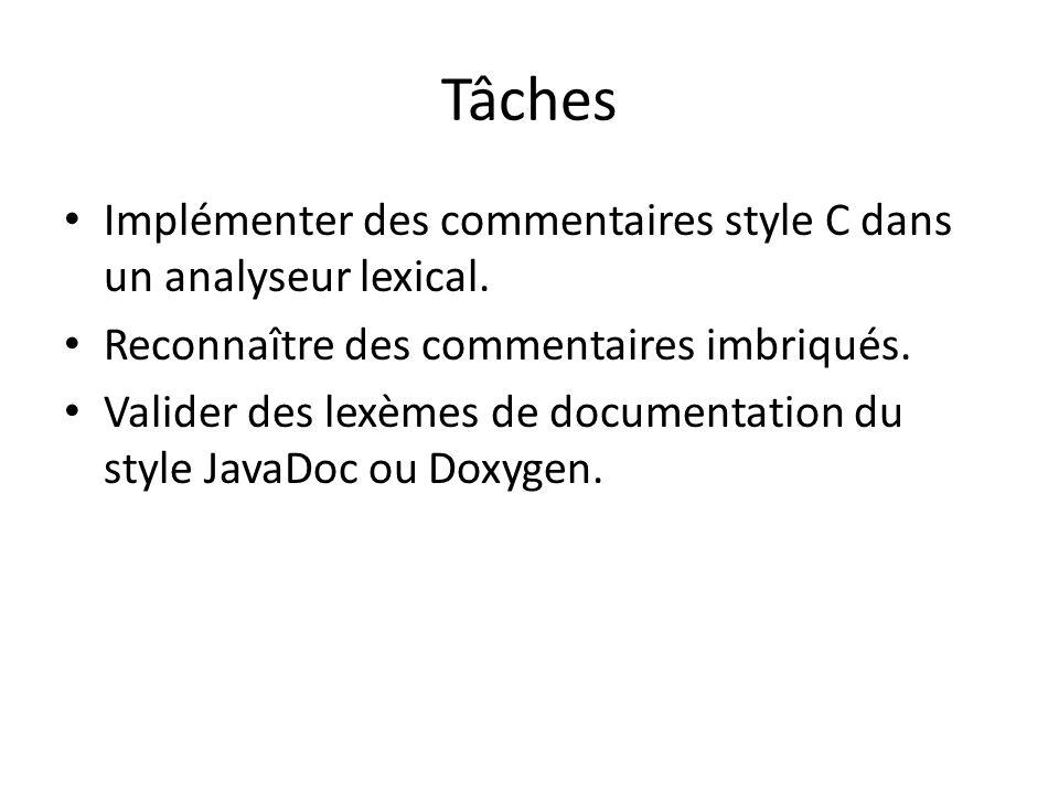 Tâches Implémenter des commentaires style C dans un analyseur lexical.