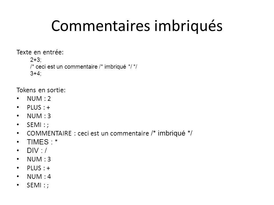Comment supporter des commentaires imbriqués Les expressions régulières ne permettent pas de décrire des commentaires imbriqués.