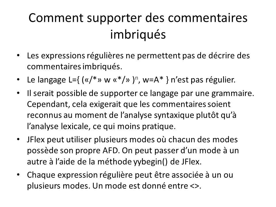 Astuce pour reconnaître commentaires imbriqués 1.Ajouter devant les définitions dexpressions régulières du langage dexpressions arithmétiques.