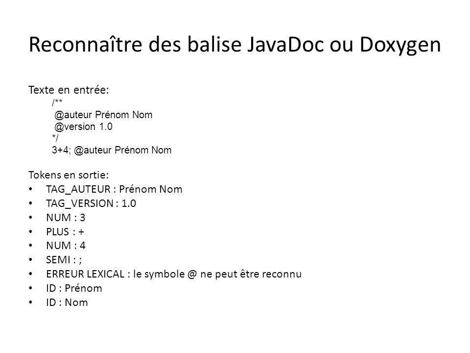 Reconnaître des balise JavaDoc ou Doxygen Texte en entrée: /** @auteur Prénom Nom @version 1.0 */ 3+4; @auteur Prénom Nom Tokens en sortie: TAG_AUTEUR : Prénom Nom TAG_VERSION : 1.0 NUM : 3 PLUS : + NUM : 4 SEMI : ; ERREUR LEXICAL : le symbole @ ne peut être reconnu ID : Prénom ID : Nom