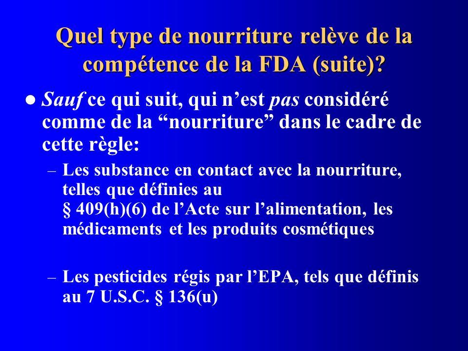 Quel type de nourriture relève de la compétence de la FDA (suite)? Sauf ce qui suit, qui nest pas considéré comme de la nourriture dans le cadre de ce