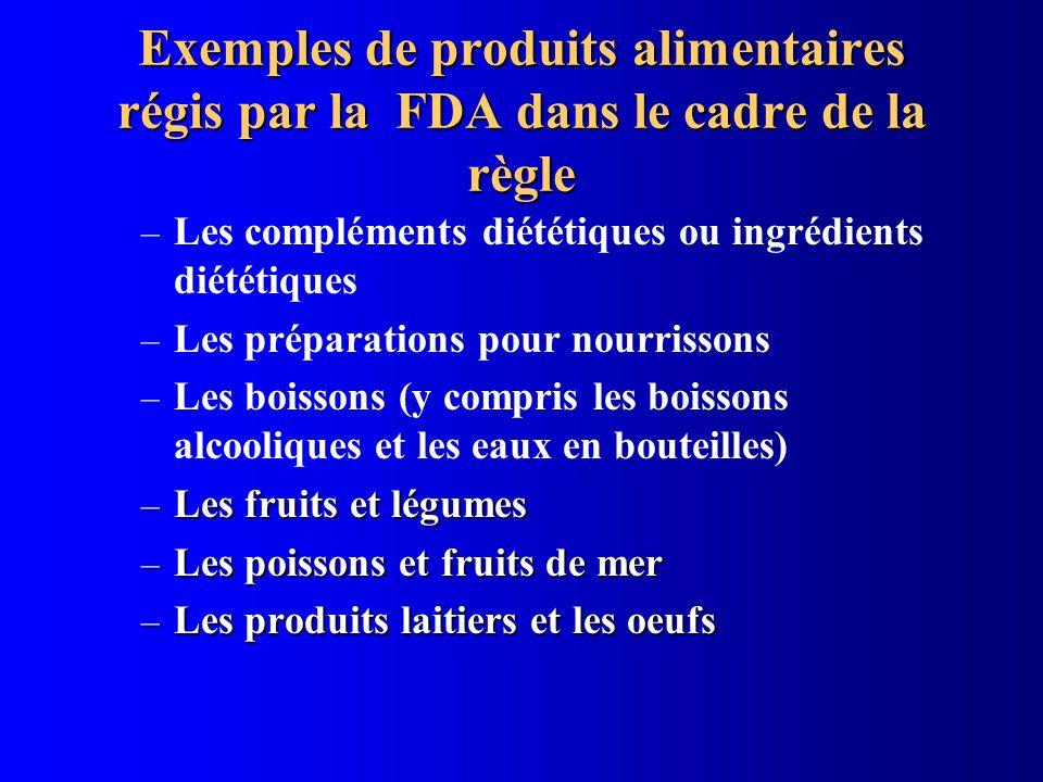 Exemples de produits alimentaires régis par la FDA dans le cadre de la règle – Les compléments diététiques ou ingrédients diététiques – Les préparatio