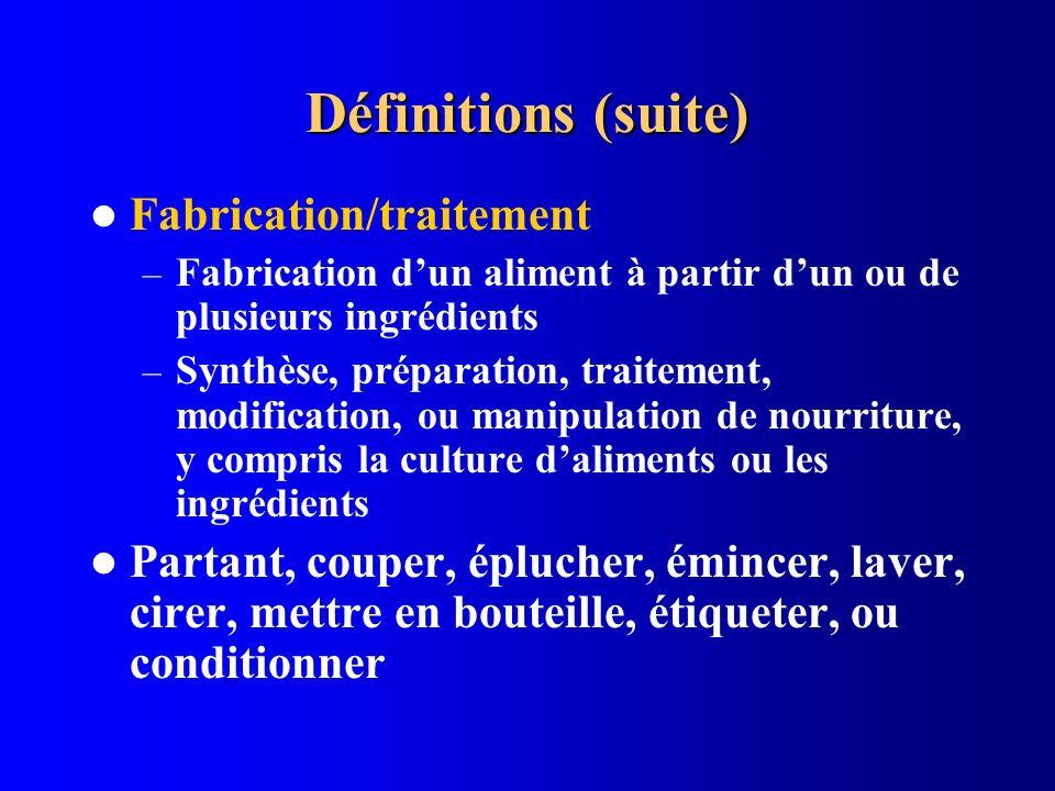 Définitions (suite) Fabrication/traitement – Fabrication dun aliment à partir dun ou de plusieurs ingrédients – Synthèse, préparation, traitement, mod