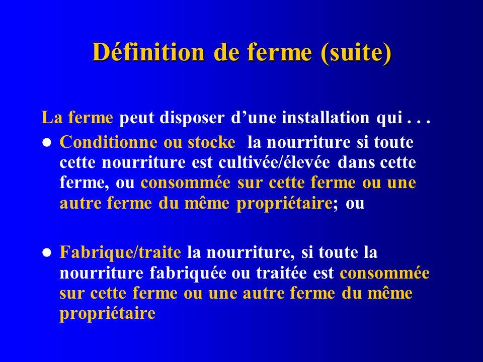Définition de ferme (suite) La ferme peut disposer dune installation qui... Conditionne ou stocke la nourriture si toute cette nourriture est cultivée