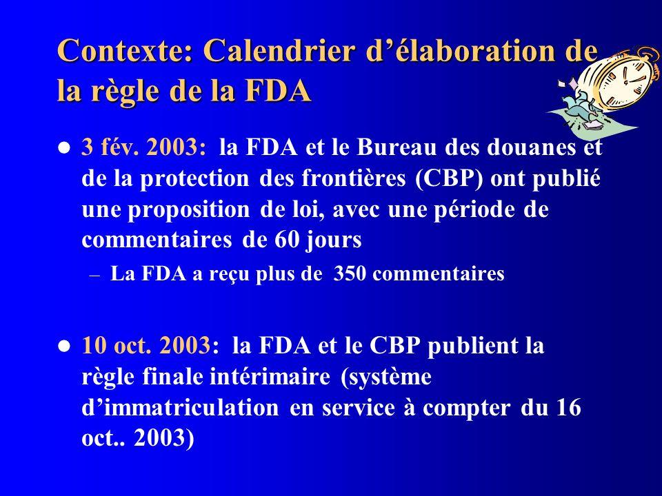 Contexte: Calendrier délaboration de la règle de la FDA 3 fév. 2003: la FDA et le Bureau des douanes et de la protection des frontières (CBP) ont publ