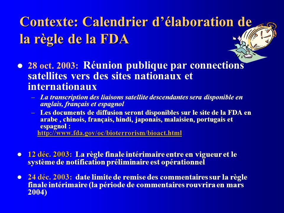 Contexte: Calendrier délaboration de la règle de la FDA 28 oct. 2003: Réunion publique par connections satellites vers des sites nationaux et internat