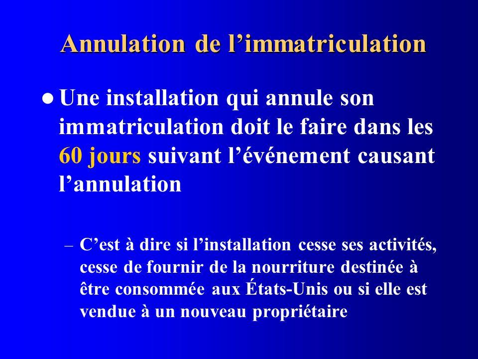 Annulation de limmatriculation Une installation qui annule son immatriculation doit le faire dans les 60 jours suivant lévénement causant lannulation