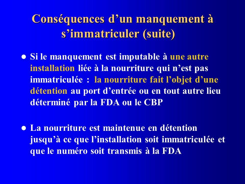 Conséquences dun manquement à simmatriculer (suite) Si le manquement est imputable à une autre installation liée à la nourriture qui nest pas immatric