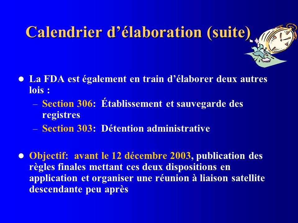 Calendrier délaboration (suite) La FDA est également en train délaborer deux autres lois : – Section 306: Établissement et sauvegarde des registres –