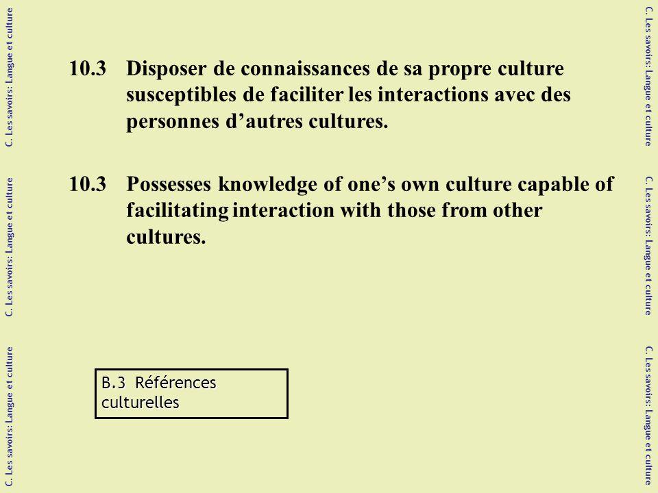 C. Les savoirs: Langue et culture C. Les savoirs: Langue et culture C.