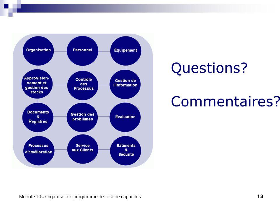 Module 10 - Organiser un programme de Test de capacités 13 Questions Commentaires
