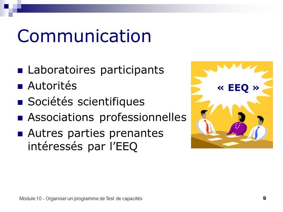 Module 10 - Organiser un programme de Test de capacités 9 Communication Laboratoires participants Autorités Sociétés scientifiques Associations professionnelles Autres parties prenantes intéressés par lEEQ « EEQ »