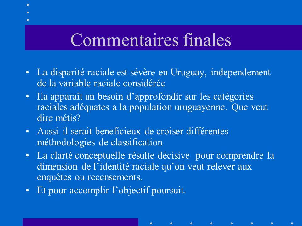 Commentaires finales La disparité raciale est sévère en Uruguay, independement de la variable raciale considérée Ila apparaît un besoin dapprofondir sur les catégories raciales adéquates a la population uruguayenne.