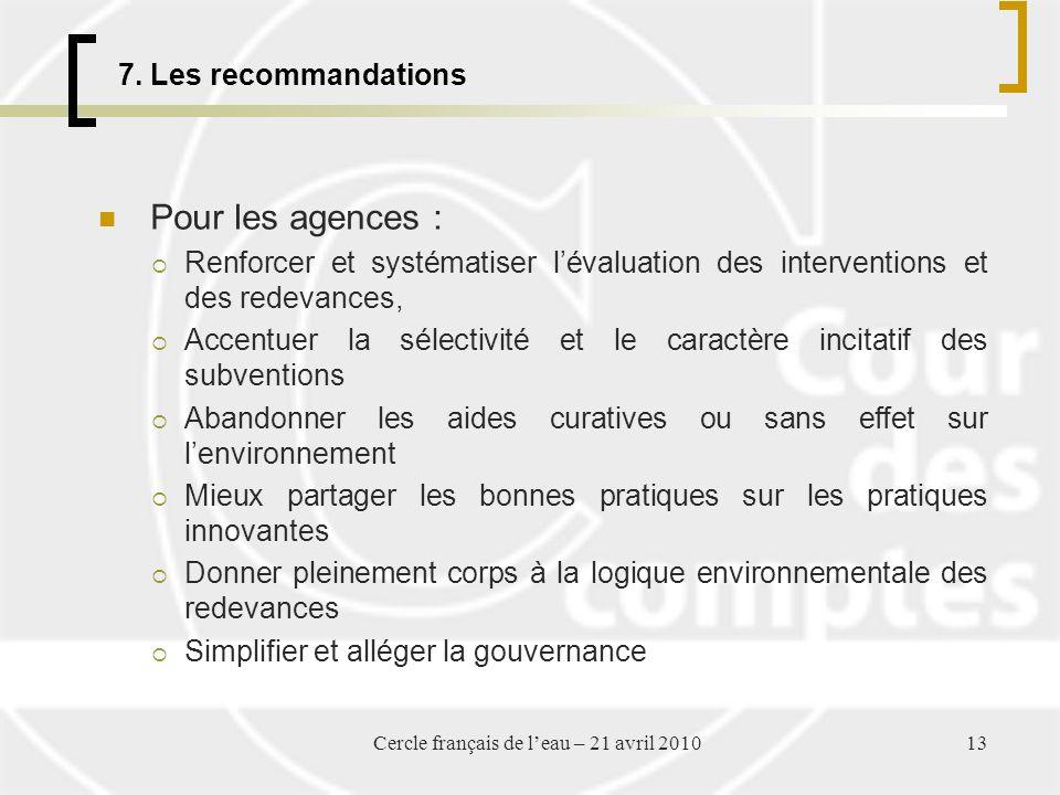 7. Les recommandations Pour les agences : Renforcer et systématiser lévaluation des interventions et des redevances, Accentuer la sélectivité et le ca