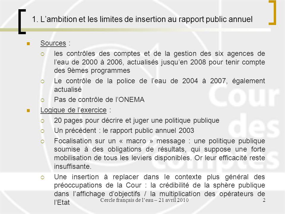 1. Lambition et les limites de insertion au rapport public annuel Sources : les contrôles des comptes et de la gestion des six agences de leau de 2000