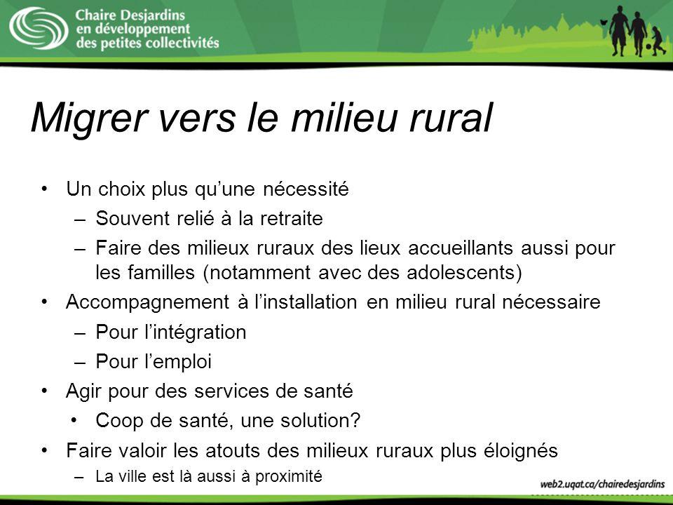 Migrer vers le milieu rural Un choix plus quune nécessité –Souvent relié à la retraite –Faire des milieux ruraux des lieux accueillants aussi pour les