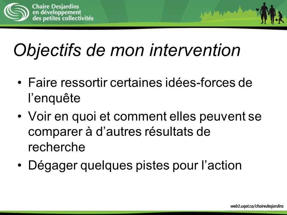 Objectifs de mon intervention Faire ressortir certaines idées-forces de lenquête Voir en quoi et comment elles peuvent se comparer à dautres résultats