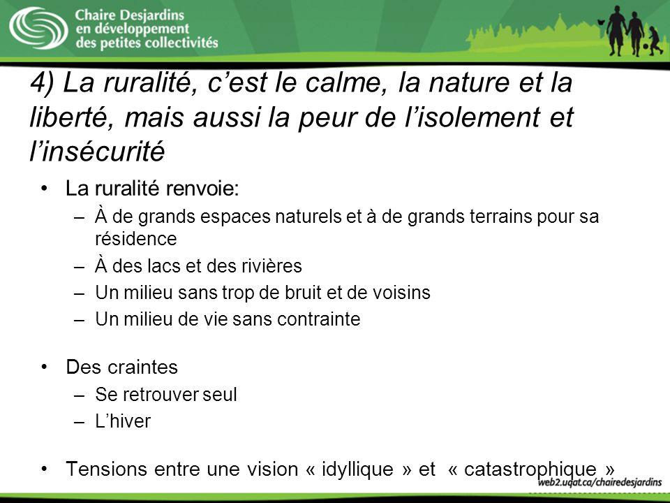 4) La ruralité, cest le calme, la nature et la liberté, mais aussi la peur de lisolement et linsécurité La ruralité renvoie: –À de grands espaces natu