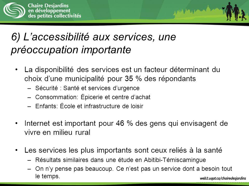 6) Laccessibilité aux services, une préoccupation importante La disponibilité des services est un facteur déterminant du choix dune municipalité pour