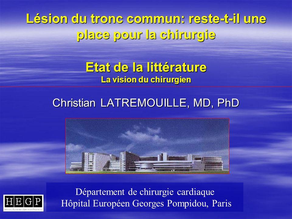 Lésion du tronc commun: reste-t-il une place pour la chirurgie Etat de la littérature La vision du chirurgien Christian LATREMOUILLE, MD, PhD Départem