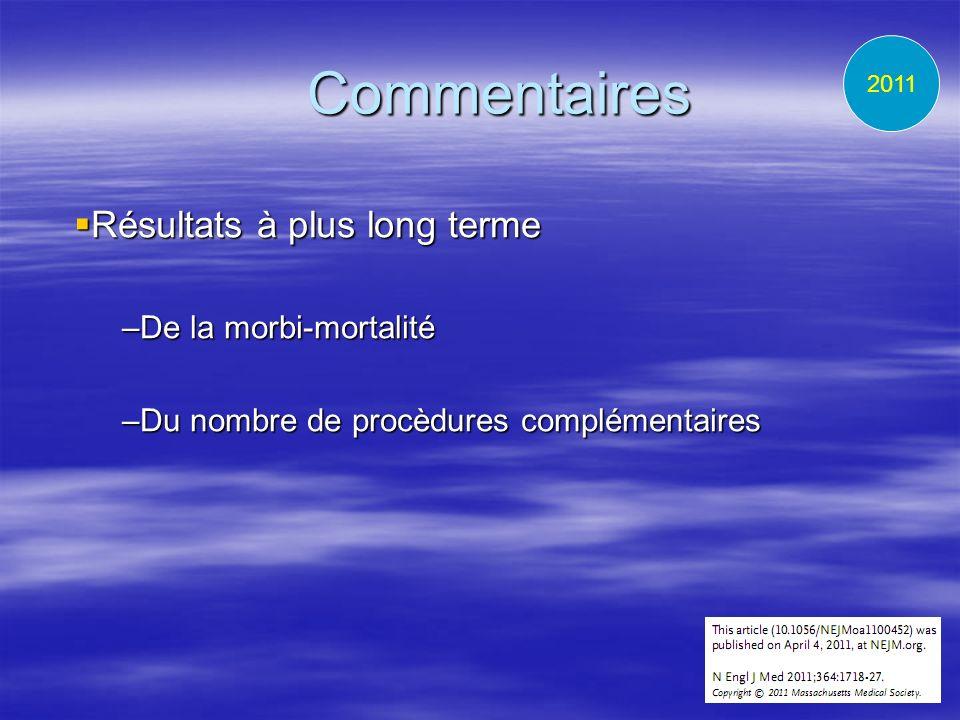 Commentaires Résultats à plus long terme Résultats à plus long terme –De la morbi-mortalité –Du nombre de procèdures complémentaires 2011