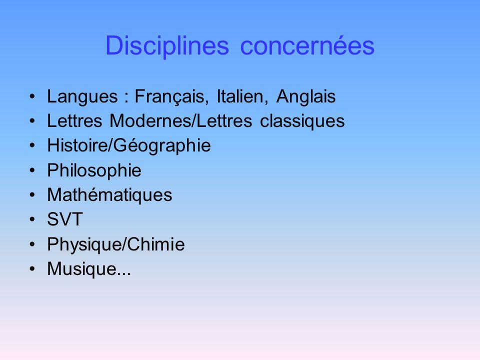 Disciplines concernées Langues : Français, Italien, Anglais Lettres Modernes/Lettres classiques Histoire/Géographie Philosophie Mathématiques SVT Phys