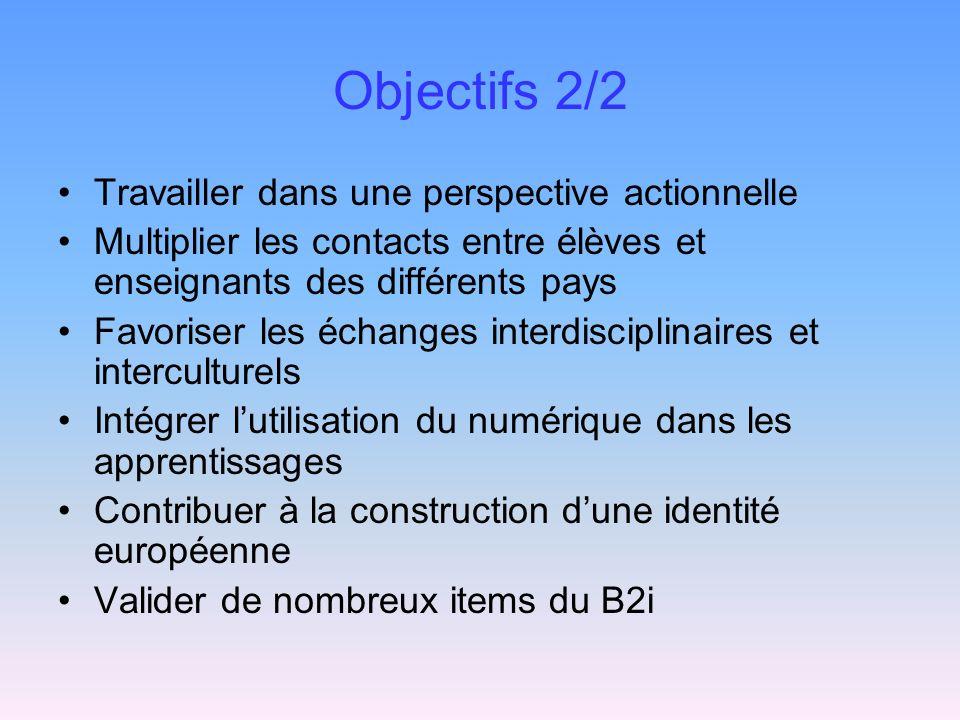 Objectifs 2/2 Travailler dans une perspective actionnelle Multiplier les contacts entre élèves et enseignants des différents pays Favoriser les échanges interdisciplinaires et interculturels Intégrer lutilisation du numérique dans les apprentissages Contribuer à la construction dune identité européenne Valider de nombreux items du B2i