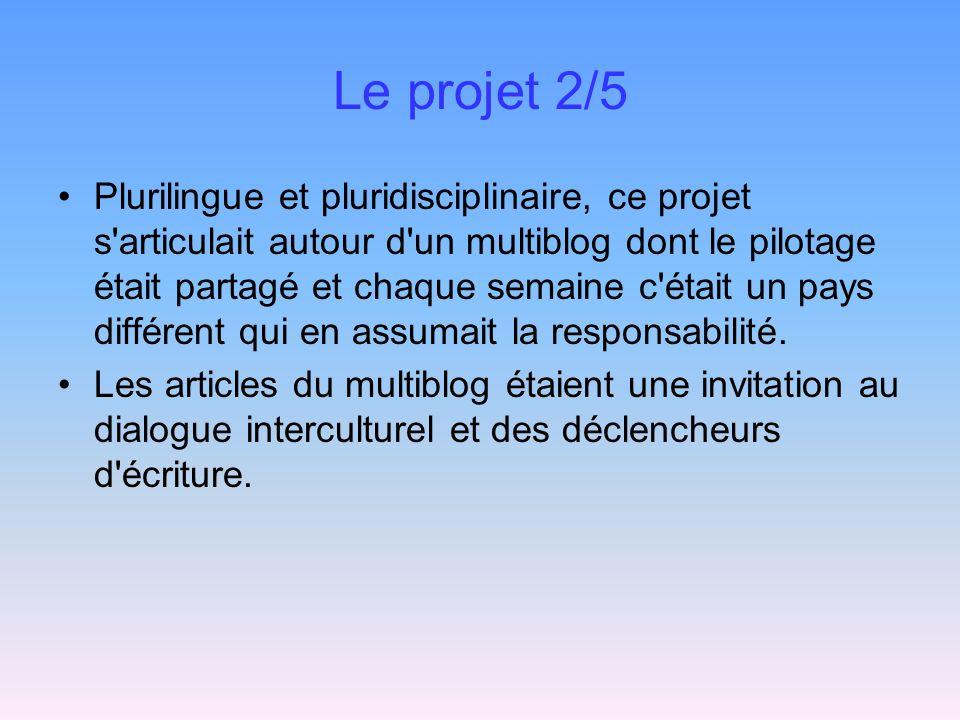 Le projet 2/5 Plurilingue et pluridisciplinaire, ce projet s articulait autour d un multiblog dont le pilotage était partagé et chaque semaine c était un pays différent qui en assumait la responsabilité.