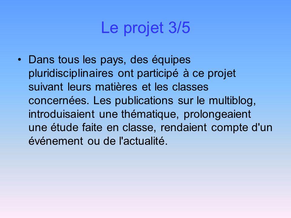 Le projet 3/5 Dans tous les pays, des équipes pluridisciplinaires ont participé à ce projet suivant leurs matières et les classes concernées. Les publ