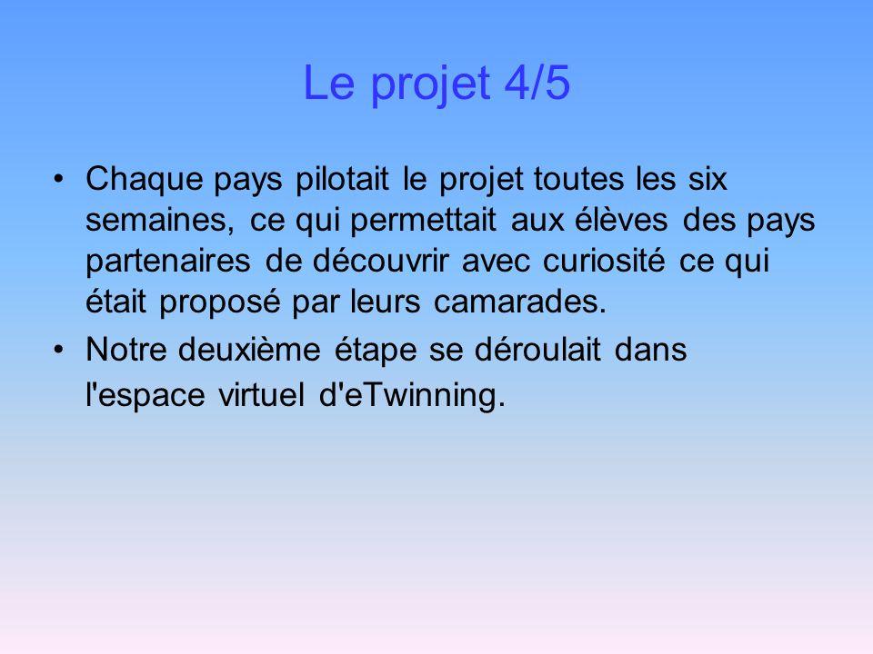 Le projet 4/5 Chaque pays pilotait le projet toutes les six semaines, ce qui permettait aux élèves des pays partenaires de découvrir avec curiosité ce qui était proposé par leurs camarades.
