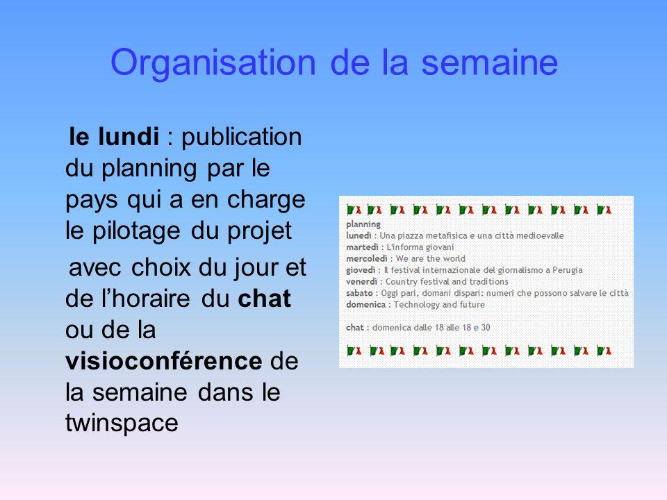 Organisation de la semaine le lundi : publication du planning par le pays qui a en charge le pilotage du projet avec choix du jour et de lhoraire du chat ou de la visioconférence de la semaine dans le twinspace