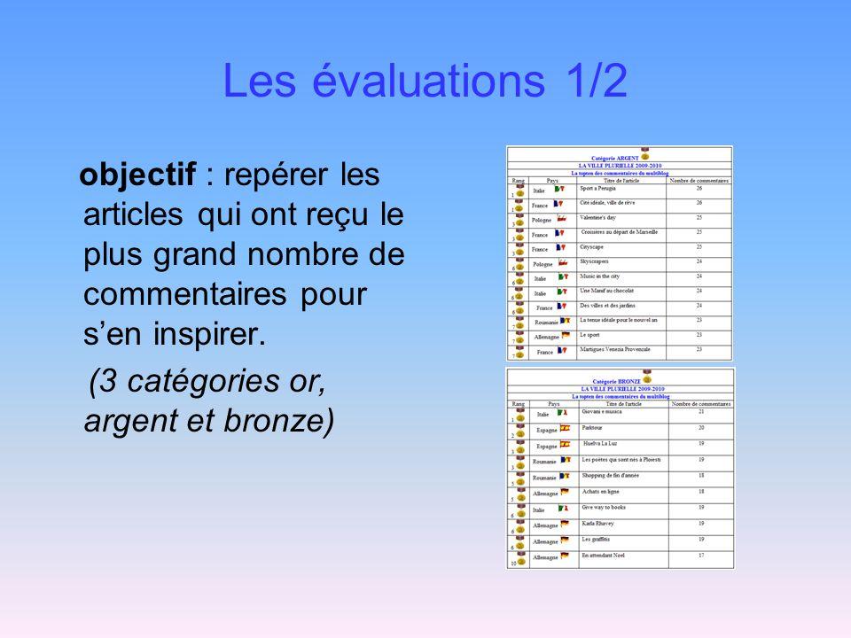 Les évaluations 1/2 objectif : repérer les articles qui ont reçu le plus grand nombre de commentaires pour sen inspirer. (3 catégories or, argent et b