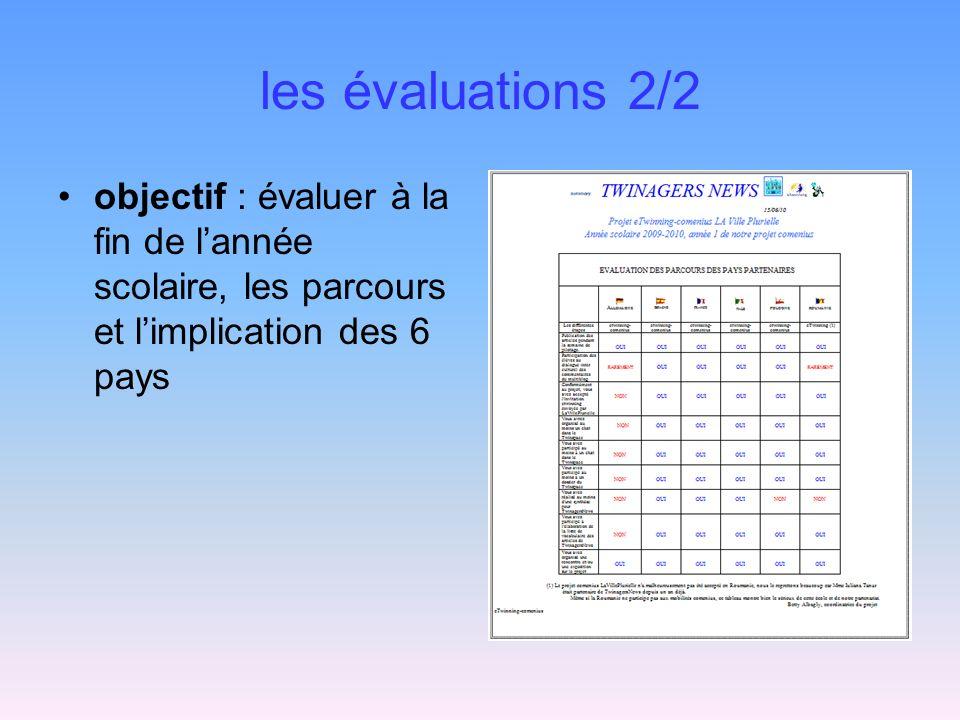 les évaluations 2/2 objectif : évaluer à la fin de lannée scolaire, les parcours et limplication des 6 pays