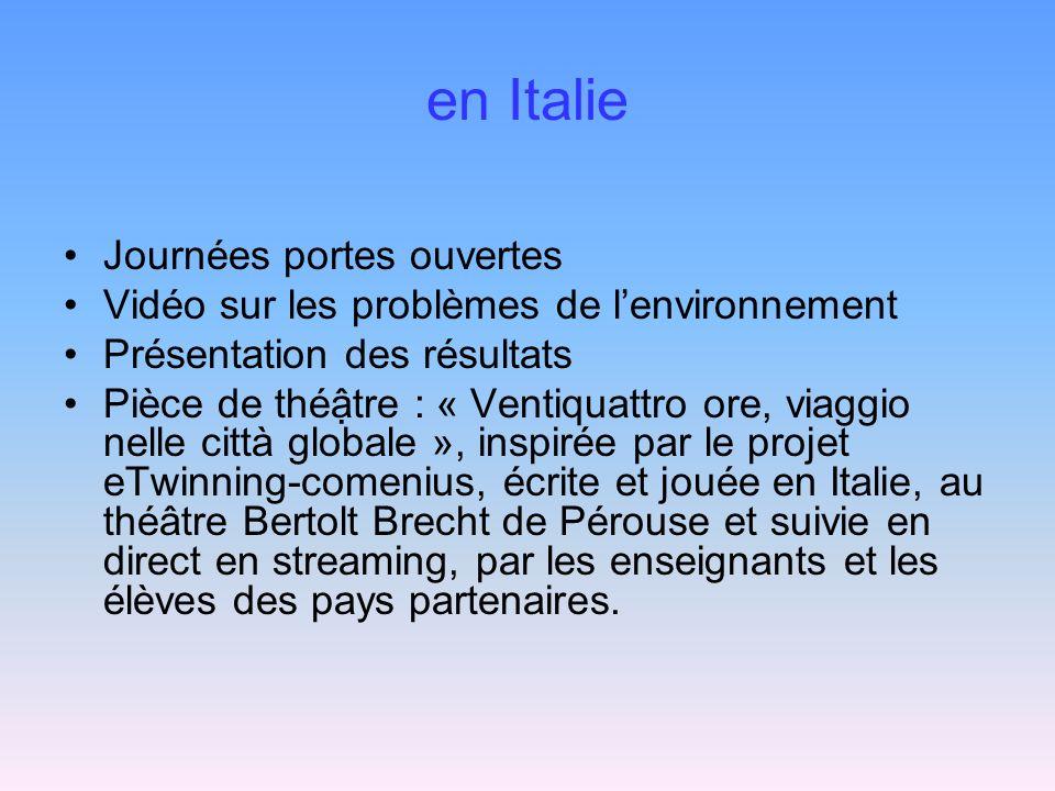 en Italie Journées portes ouvertes Vidéo sur les problèmes de lenvironnement Présentation des résultats Pièce de thétre : « Ventiquattro ore, viaggio