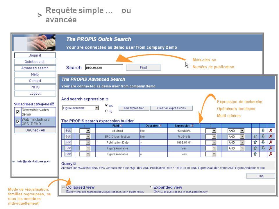 PROFESSIONAL ONLINE PATENT INFORMATION SERVICE > Requête simple … ou avancée Expression de recherche Opérateurs booléens Multi critères Mots-clés ou N