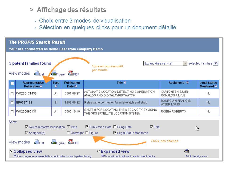 PROFESSIONAL ONLINE PATENT INFORMATION SERVICE > Affichage des résultats Choix entre 3 modes de visualisation Sélection en quelques clicks pour un document détaillé 1 brevet représentatif par famille Choix des champs
