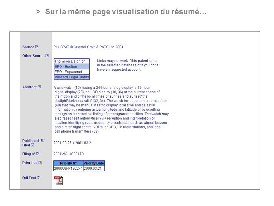 PROFESSIONAL ONLINE PATENT INFORMATION SERVICE > Sur la même page visualisation du résumé…