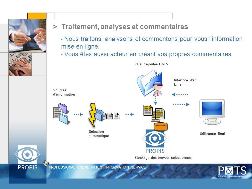 PROFESSIONAL ONLINE PATENT INFORMATION SERVICE Sources dinformation Sélection automatique Valeur ajoutée P&TS Interface Web Email Utilisateur final St