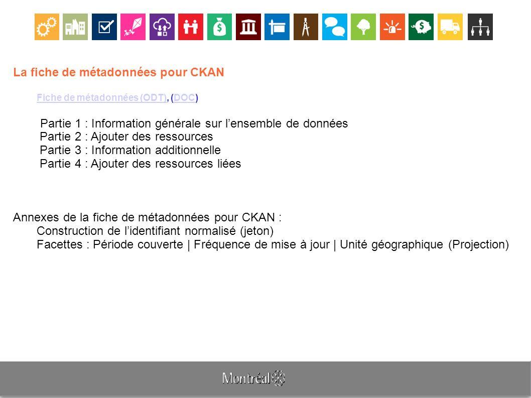 La fiche de métadonnées pour CKAN Fiche de métadonnées (ODT)Fiche de métadonnées (ODT), (DOC)DOC Partie 1 : Information générale sur lensemble de donn
