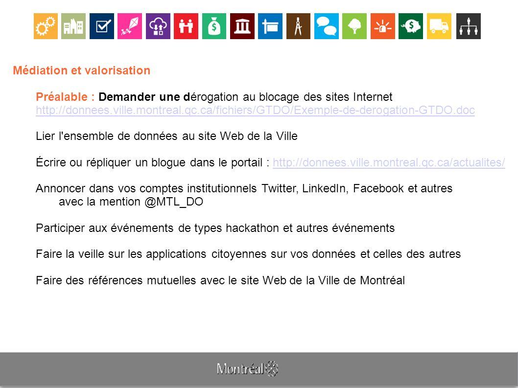 Médiation et valorisation Préalable : Demander une dérogation au blocage des sites Internet http://donnees.ville.montreal.qc.ca/fichiers/GTDO/Exemple-