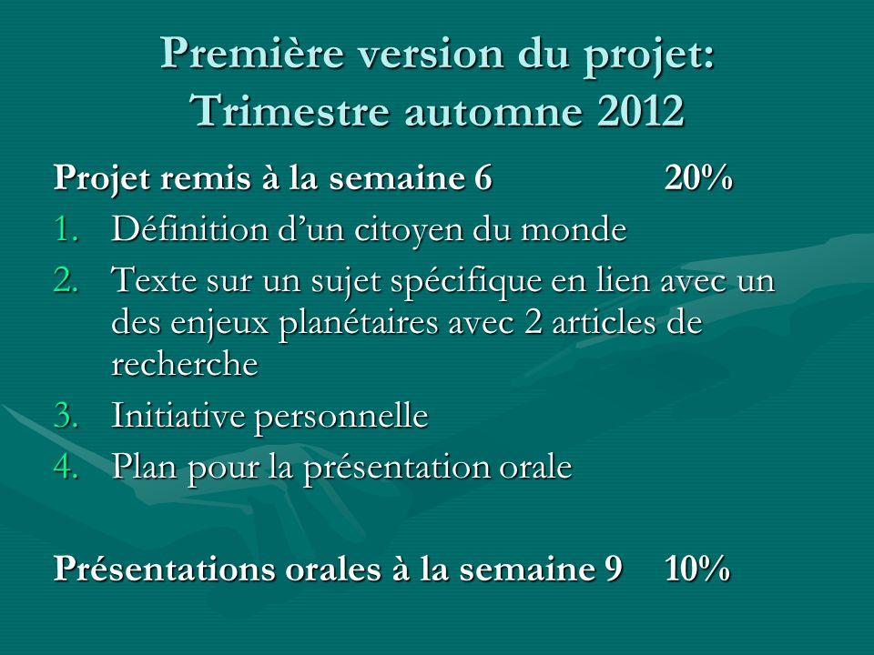 Première version du projet: Trimestre automne 2012 Projet remis à la semaine 620% 1.Définition dun citoyen du monde 2.Texte sur un sujet spécifique en