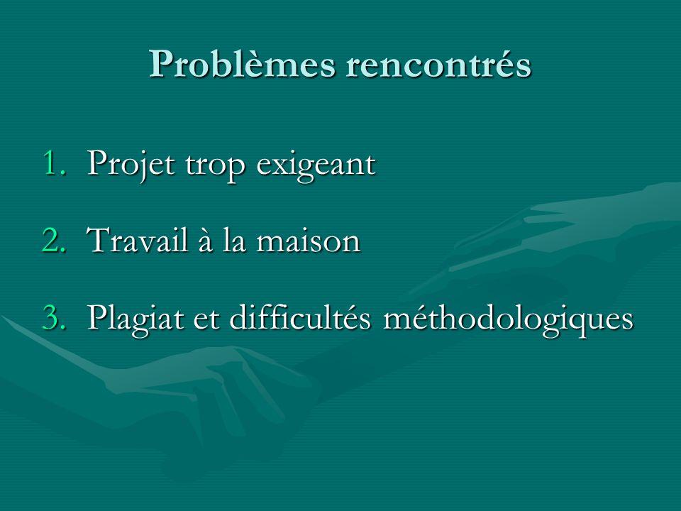 Problèmes rencontrés 1.Projet trop exigeant 2.Travail à la maison 3.Plagiat et difficultés méthodologiques