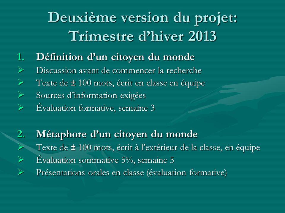 Deuxième version du projet: Trimestre dhiver 2013 1.Définition dun citoyen du monde Discussion avant de commencer la recherche Discussion avant de com