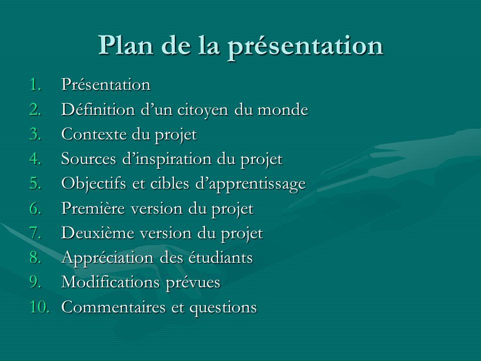 Plan de la présentation 1.Présentation 2.Définition dun citoyen du monde 3.Contexte du projet 4.Sources dinspiration du projet 5.Objectifs et cibles d