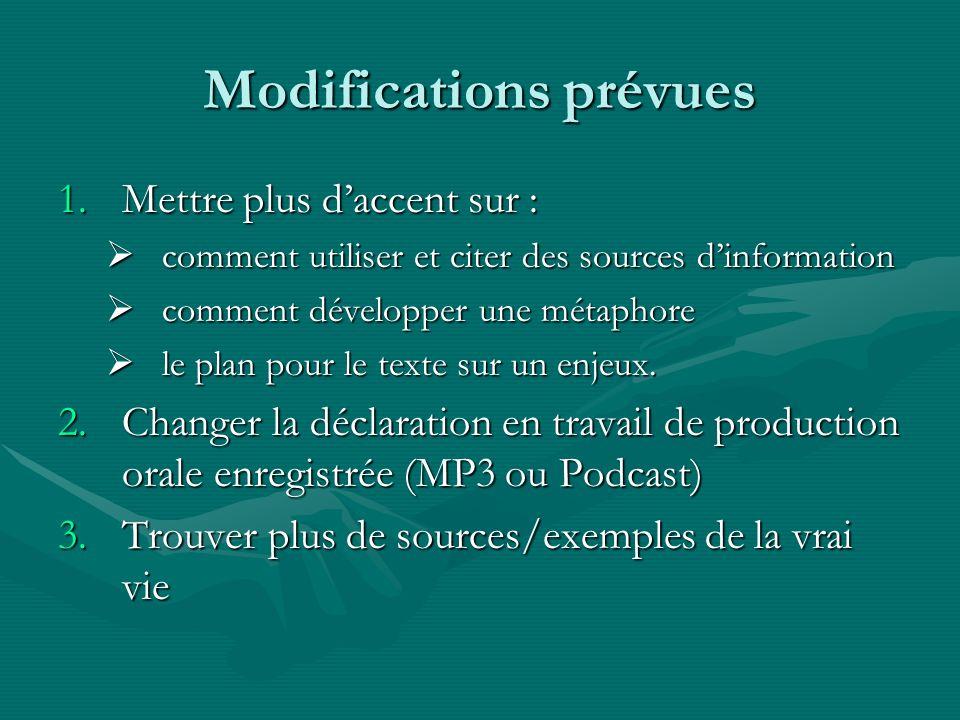 Modifications prévues 1.Mettre plus daccent sur : comment utiliser et citer des sources dinformation comment utiliser et citer des sources dinformatio